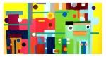 Tiere im Wald. Freie Arbeit: Digitaldruck und Akrylfarbe auf Leinwand, 60x40cm