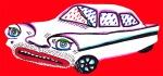 """Fluchtauto der Mafia. Freie Arbeit aus der Serie """"Cars"""", Collage, Gouache"""